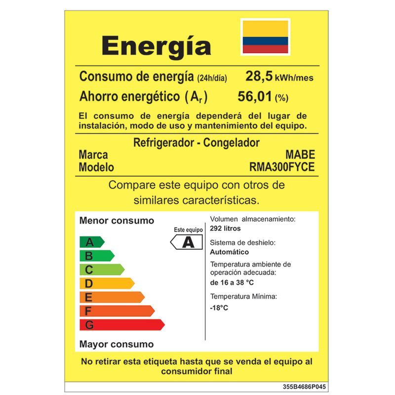 Nevera-No-Frost-MABE---300Litros---Gris---RMA300FYCE